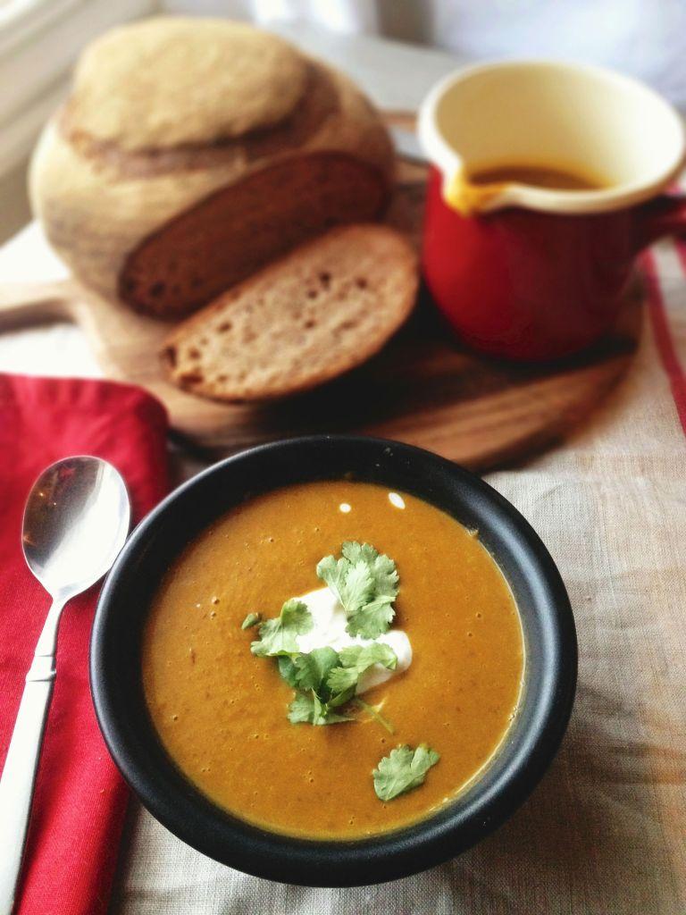 spiced adzuki bean and pumpkin soup
